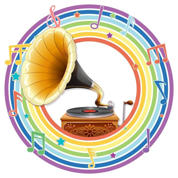 Grammofoon in regenboog rond frame met melodiesymbolen