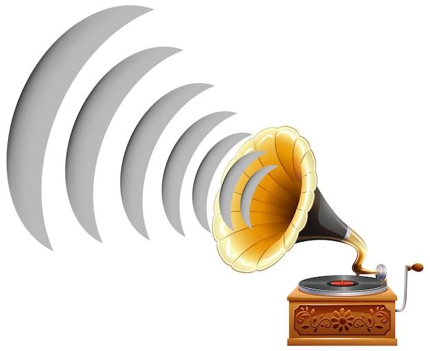 Grammofoon met geluidsgolf pictogram