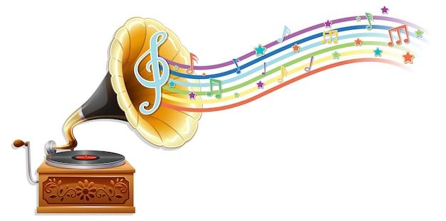 Grammofoon met melodiesymbolen op regenbooggolf