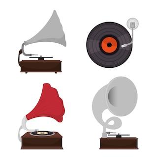Grammofoons instellen geïsoleerde pictogram ontwerp