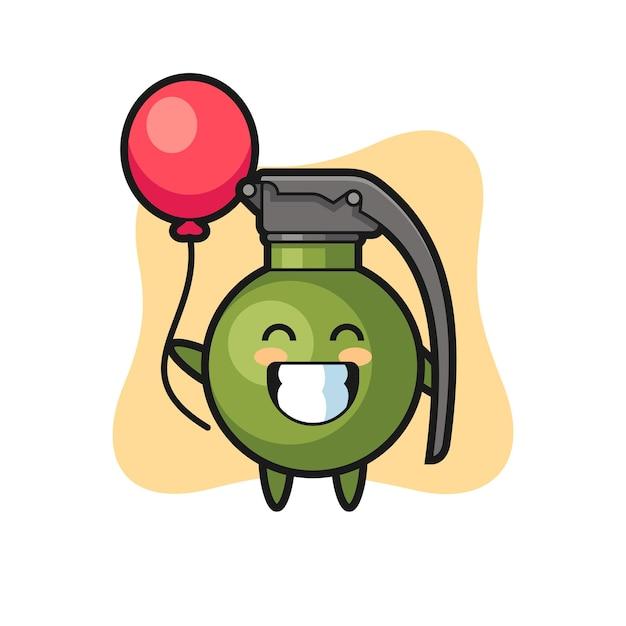 Granaat mascotte illustratie speelt ballon, schattig stijlontwerp voor t-shirt, sticker, logo-element