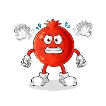 Granaatappel erg boos mascotte. tekenfilm