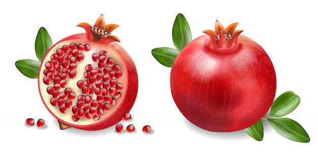Granaatappel, vers fruit realistische geïsoleerde witte achtergrond, biologisch fruit