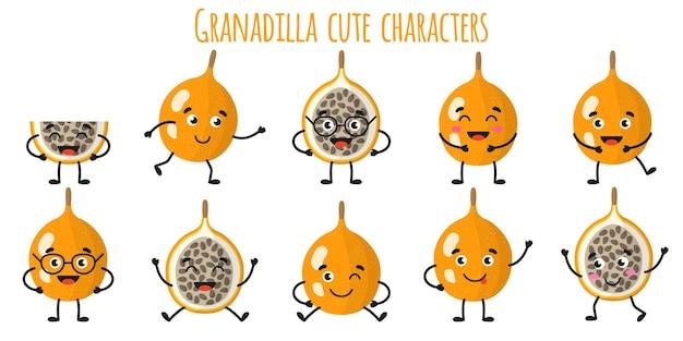 Granadilla fruit schattige grappige vrolijke karakters met verschillende poses en emoties