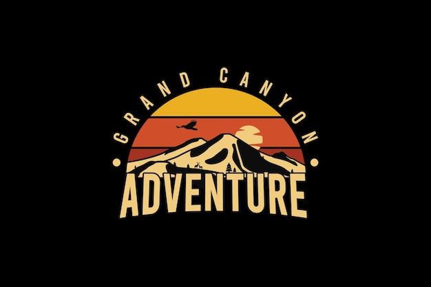 Grand canyon avontuur, retro vintage stijl hand tekenen illustratie
