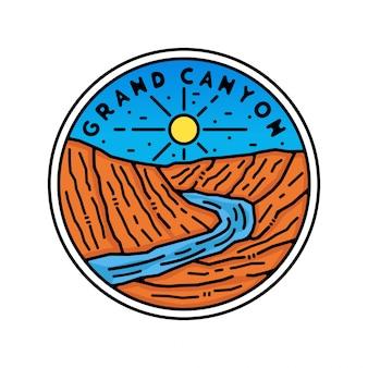 Grand canyon monoline vintage outdoor badge design