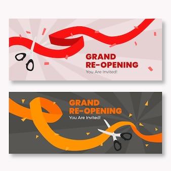 Grand heropening banners met lint en schaar