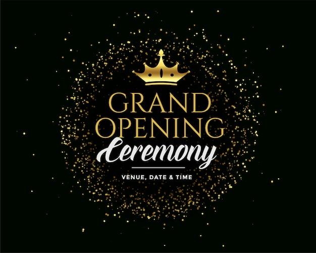 Grand open gouden premium donkere uitnodiging