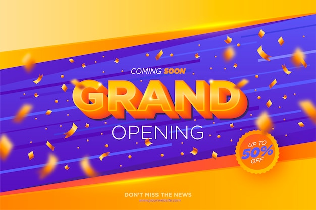 Grand opening banner met confetti
