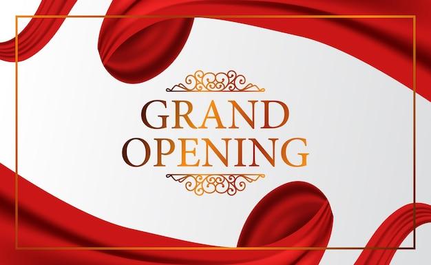 Grand opening banner met zijden gordijnen