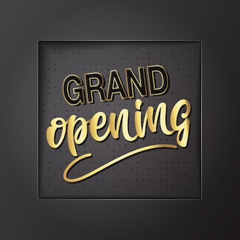 Grand opening belettering ontwerp. vector illustratie.