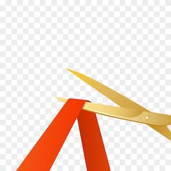 Grand opening beroemdheden illustratie met gouden schaar en rood lint geïsoleerd.