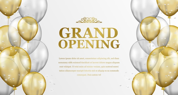 Grand opening elegante luxe met vliegende gouden en zilveren transparante ballon frame feestviering