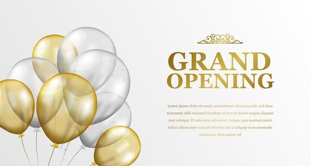 Grand opening elegante luxe met vliegende gouden en zilveren transparante ballonfeestviering