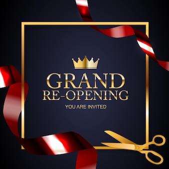 Grand opening felicitatie achtergrond kaart met gouden confetti lint