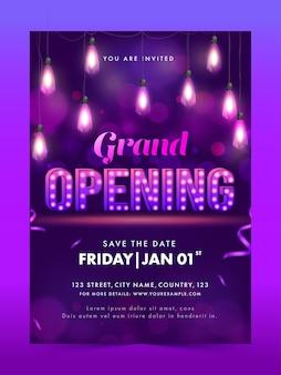 Grand opening flyer design met hangende verlichte bollen