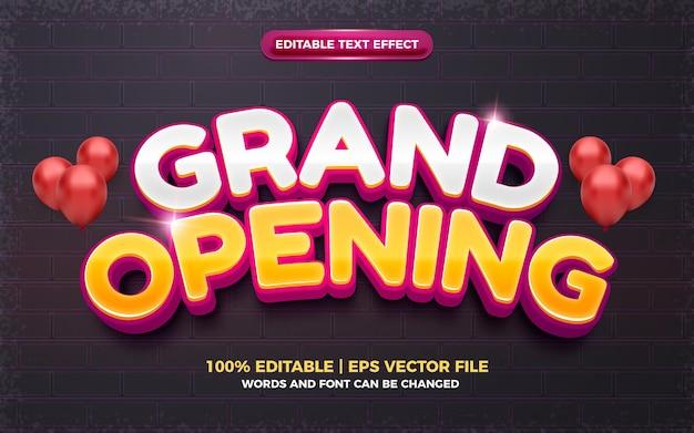 Grand opening glanzend 3d bewerkbaar teksteffect