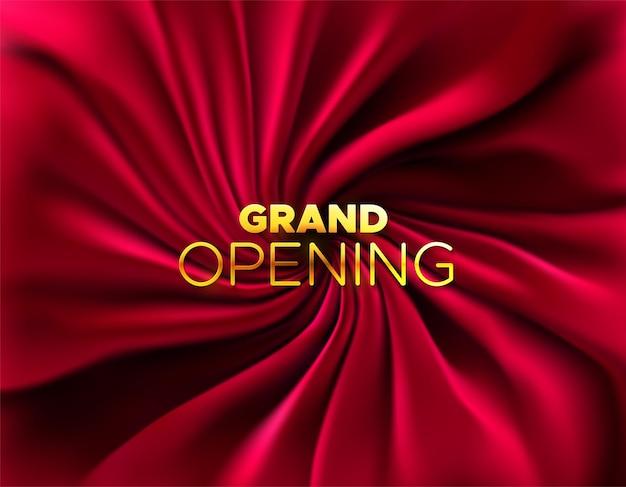 Grand opening gouden teken op zijdeachtige rode stof achtergrond