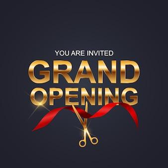 Grand opening kaart met lint achtergrond