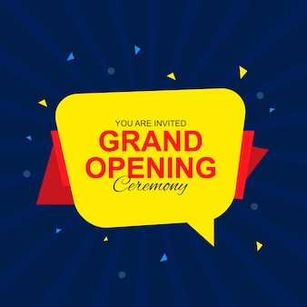 Grand opening kaart met tekstballon banner