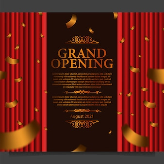 Grand opening kaartsjabloon met illustratie van rode gordijnzijde