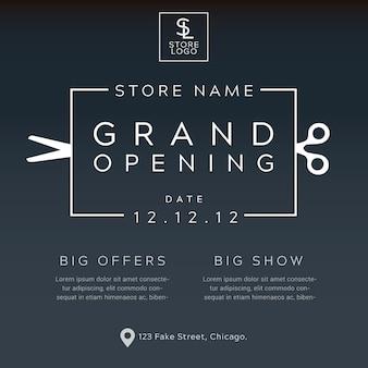 Grand opening minimalistische poster vector