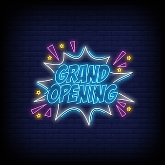 Grand opening neon sign tekst vector