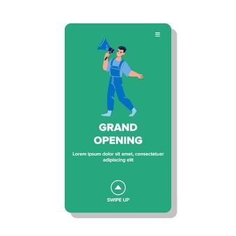 Grand opening reclame man in megafoon vector. man met luidspreker aankondiging winkelcentrum of mode winkel grand opening. karakter marketing en reclame business web platte cartoon afbeelding