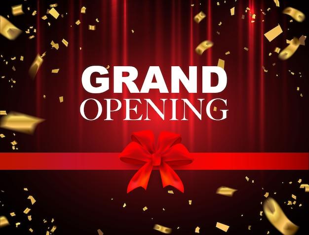 Grand opening rode evenement ontwerp gouden confetti