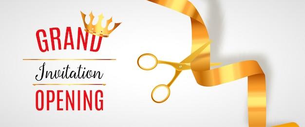 Grand opening uitnodiging banner. golden ribbon cut ceremonie evenement. feestelijke opening feestkaart