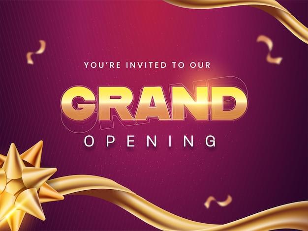 Grand opening uitnodigingskaart met gouden bloem lint op paarse achtergrond.