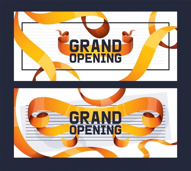 Grand opening van winkel, winkel advertentie set ofs.