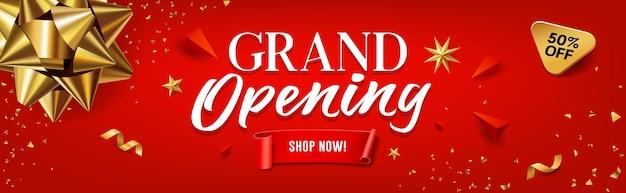Grand opening verkoop gouden lint banner rode achtergrond eps 10 vectorillustratie