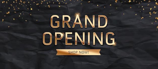 Grand opening verkoop gouden tekstbericht ontwerp op zwarte achtergrond