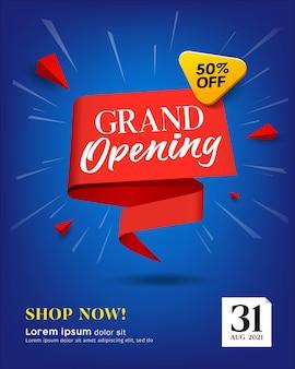 Grand opening verkoop rood ontwerp voor een papieren op blauwe achtergrond Premium Vector