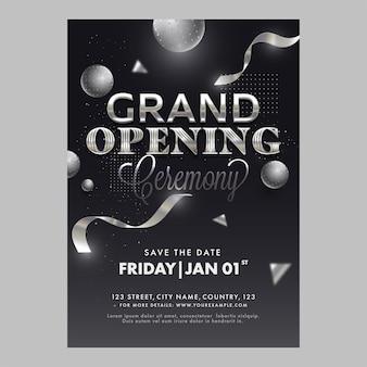 Grand openingsceremonie sjabloon of flyer ontwerpen met 3d-bollen in zwarte kleur