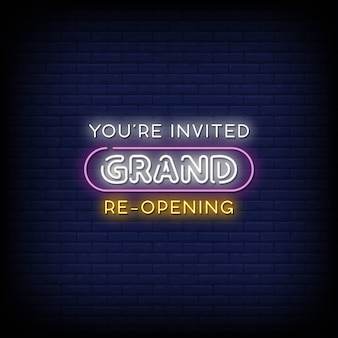 Grand re opening neon signs style text