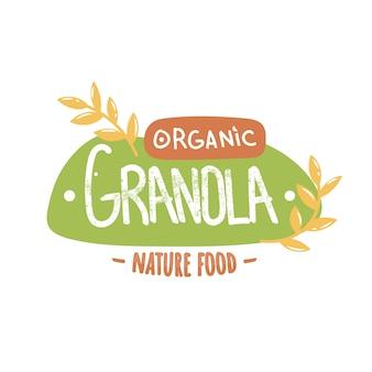 Granola organische natuur voedsel logo.