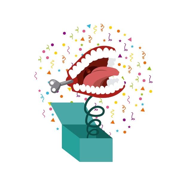 Grap doos met klapperende tanden pictogram Premium Vector