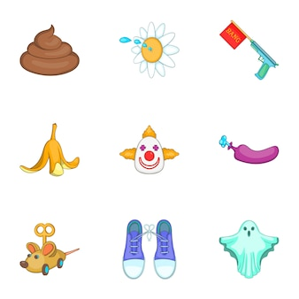 Grap iconen set, cartoon stijl