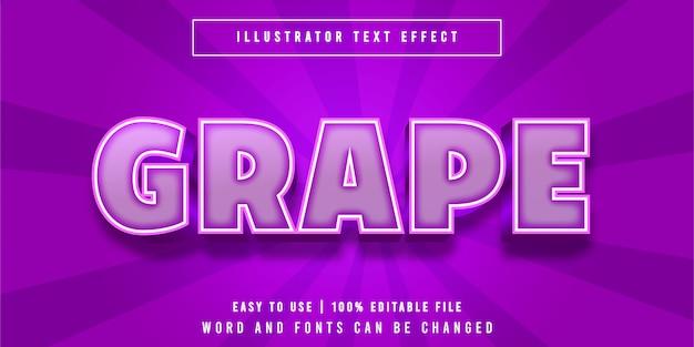Grape cartoon style bewerkbaar teksteffect