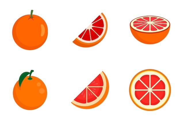 Grapefruit icons set