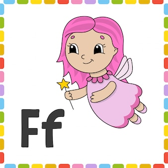 Grappig alfabet abc flash-kaarten. schattig stripfiguur geïsoleerd