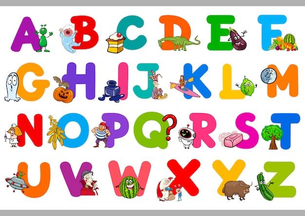 Grappig alfabet voor kleuterscholen