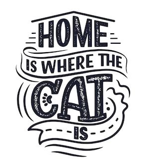 Grappig belettering citaat over katten