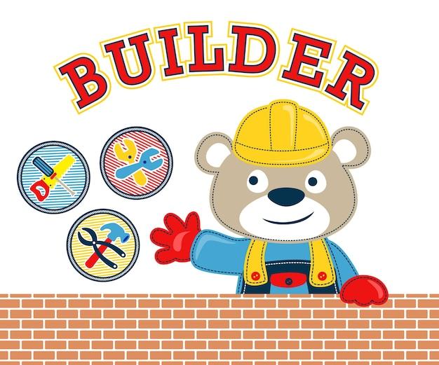 Grappig bouwersbeeldverhaal met hulpmiddelen