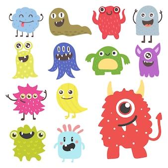 Grappig cartoon monster schattig buitenaards karakter schepsel gelukkig illustratie duivel kleurrijke dier.