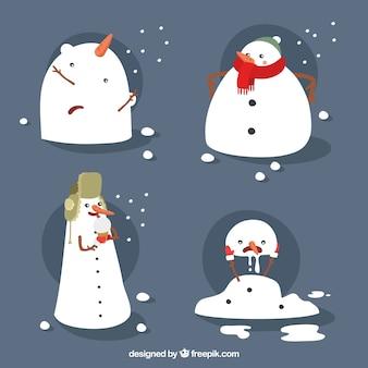 Grappig collectie van sneeuwmannen