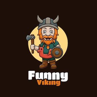 Grappig creatief viking-mascotte-cartoon-logo-ontwerp