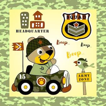 Grappig dier op militaire auto